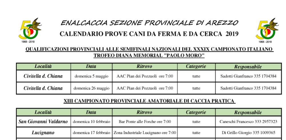 Cerca Calendario.Calendario Prove Cani Da Ferma E Da Cerca 2019 Enalcaccia